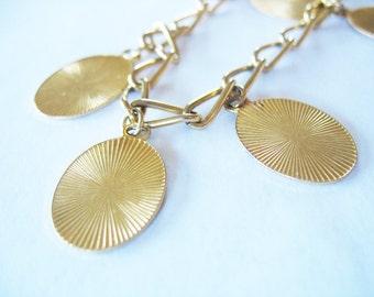 Medallion Chain Necklace Belt Necklace Goldtone 1970's