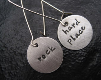 Between A Rock and A Hard Place Charm Earrings  - Personalized earrings - hand stamped - charm earrings - Rocker Chick - Rolling Stones