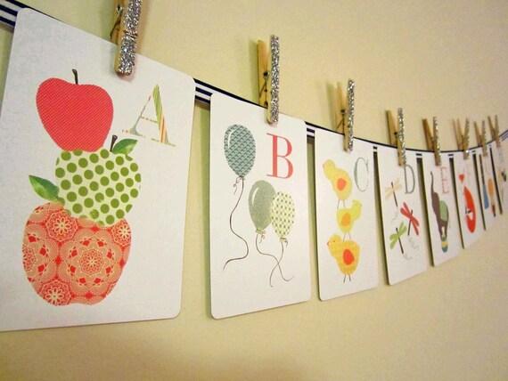 Alphabet Nursery Art PRINT - Alphabet Cards 26 5 x 7, Children's Decor, Art for Children, flash cards, Baby Wall Art, Kids Wall Art