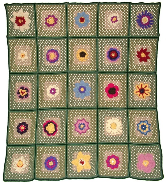 Crochet Flowers Granny Square Afghan Blanket Throw Rug 25 Instant Digital patterns PDF eBook download