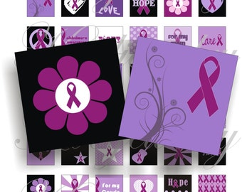 Alzheimer's Awareness 1x1 inch for pendant, scrapbook and more collage sheet No.1182