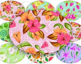 Flower party for oval for belt buckle and more digital collage sheet No.790