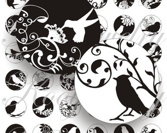 White birds for bottle caps, pendant, buttons, scrapbook and more Vintage Digital Collage Sheet No.140