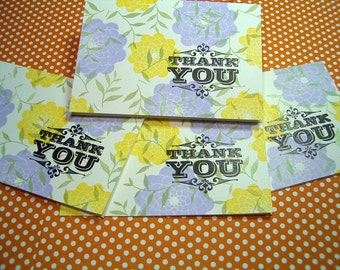 Thank You card set . Leaves and Flowers - Pale Yellow, Lavender & Green