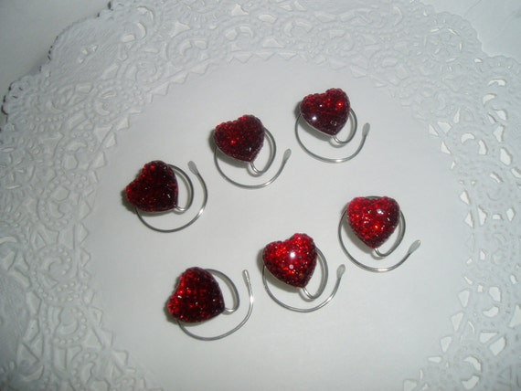 Heart Hair Swirls-Bridal Party-Dazzling Red Acrylic-Valentine's Day Accessory-Hair Twists