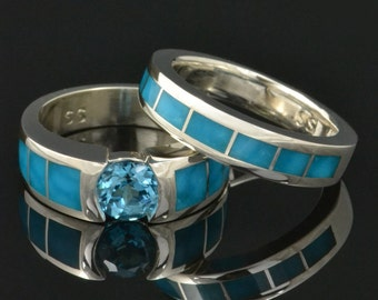 Turquoise Engagement Ring with Topaz and Turquoise Wedding Ring Set- Turquoise Bridal Ring Set in Silver