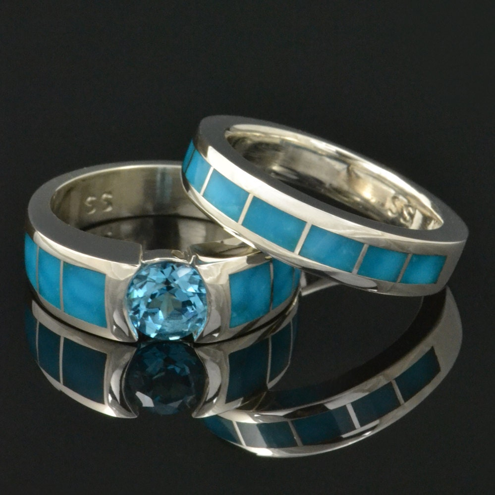 turquoise engagement ring with topaz and turquoise wedding. Black Bedroom Furniture Sets. Home Design Ideas