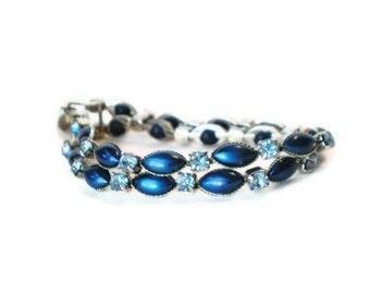 Vintage Leru Blue Rhinestone Bracelet