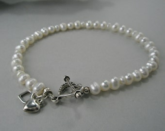 White Small Pearl Bracelet with an Oxidized Sterling Silver Heart Toggle Closure and Two Heart Dangles Valentines Day Jewelry