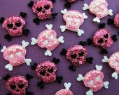 10 piece padded sequin skull crossbones appliques embellishments EM-340