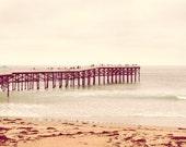 "Beach, ocean, Pacific Pier, Sandy, teal foam, San Diego California, turquoise, yellow, wood, fine art photograph 8""x10"""