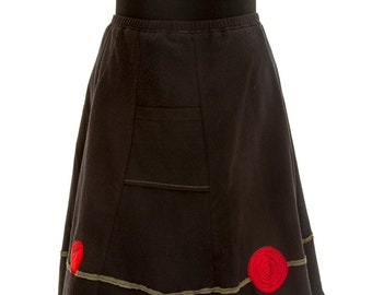T-Skirt Upcycled, recycled, appliqué black t-shirt skirt with roses