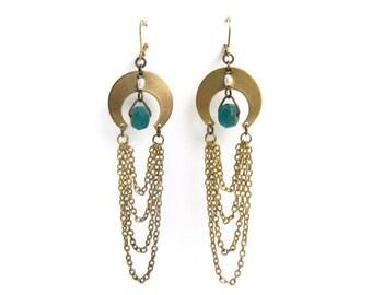Mermaid's Treasure - Brass Crescent Moon Dangle Earrings with Draped Chain Festoons, Tiny Freshwater Pearls & Aqua Blue Glass Beads