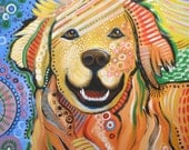 Abstract Dog Art ... Max, Golden Retriever, Print of dog painting