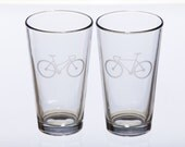 Bicycle Love Etched Pint Glass