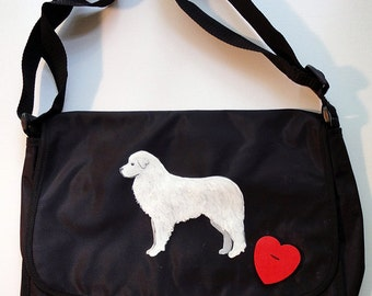 Great Pyrenees Dog Hand Painted Messenger Bag Can Be Personalized with Name
