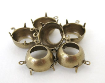 Prong Rhinestone Setting Antiqued Brass Ox Round Open Back 2 Ring 60ss 14mm set0162 (6)