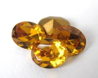 Vintage Swarovski Crystal Rhinestone Topaz Oval Glass Jewel 10x8mm swa0429 (4)