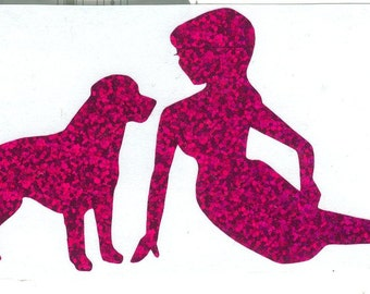 Labrador and Pin Up Silhouette, Purple Glitter Vinyl Decal