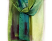 Hand painted silk scarf in aqua, mint and apple green. Spring colored scarf. Woman fashion silk scarf.Painting on silk by Dimo
