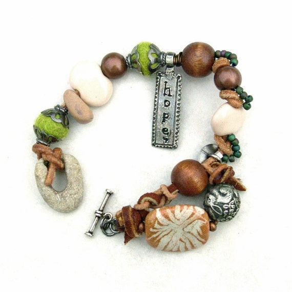 Mixed Media Woodland Bracelet Garden Hope Owl Rabbit Silver Kazuri Pewter Copper Stone Green Nature