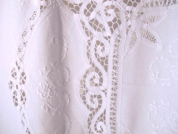 Battenburg Tablecloth Window Curtain Repurposed Linens Cafe