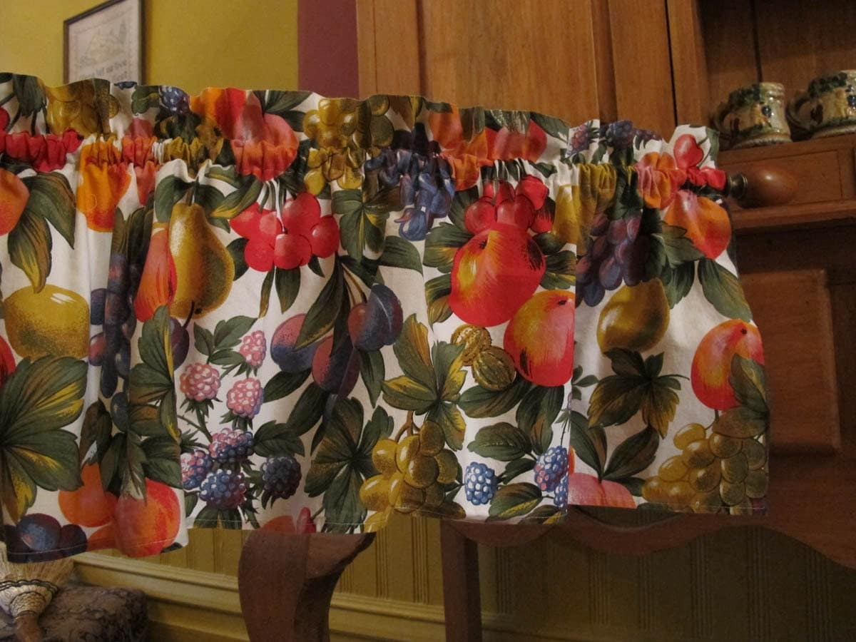 Fruit Print Window Valance Colorful Bright Curtain Kitchen
