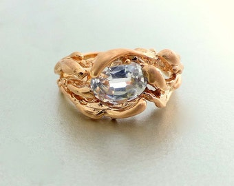 Modern Engagement ring. Unique engagement ring. 14k rose gold water ring. Oval white sapphire ring.