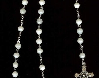 Handmade Rosary Necklace in White or Cream Mother of Pearl with Our Lady Center Piece & St. Benedict Crucifix