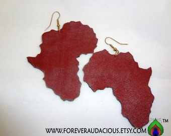 Roots AFRICA (Genuine Leather Handmade Earrings-Red) -FREE Gift w/ Purchase