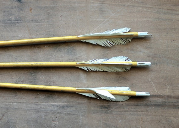 Cupid's Yellow Arrows - Vintage Arrows - Yellow Wooden Arrows with Real Feathers - Mustard - Geometric - Valentine's Day