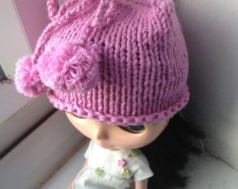 Knitted hat for Blythe - Pink