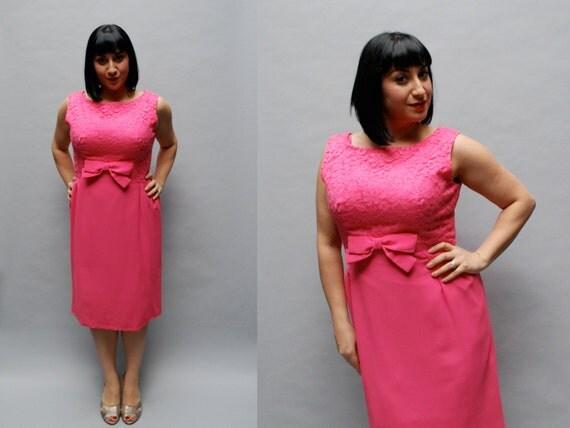 vintage 1960s hot pink cocktail dress