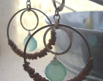 Leather Earrings, Silver and Copper  Hoop Earrings with Leather and Sea Foam Chalcedony, Hoop Earrings,Upcycled Earrings.
