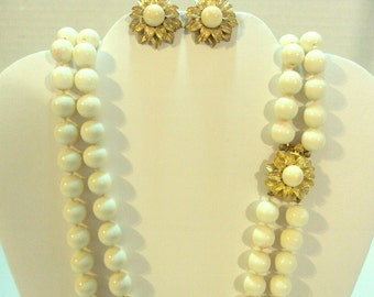 Vintage Double Strand Ciner Handknotted Necklace Set