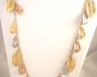 Vintage Napier Leaf Necklace and Earrings