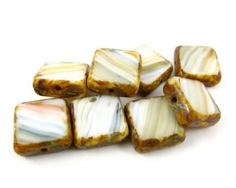 8 - Czech Pressed Glass Square Window Beads - Cream with Light Blue and Caramel Stripes  - 10mm - S2023