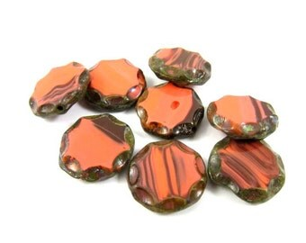 4 - Czech Pressed Glass Beads Chunky Carved Round Coin Picasso - Bright Padparadscha - 14mm
