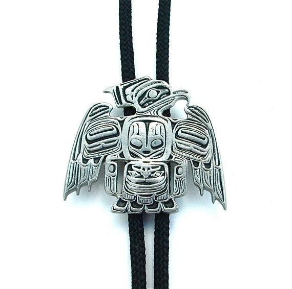 Bolo Tie Native American Indian Eagle Tlingit Art Raven Totem