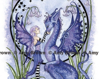 Dragon and fairy 8.5x11 PRINT Together by Amy Brown