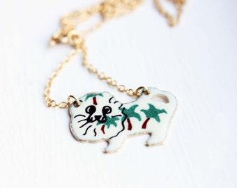 Enamel Lion Necklace, Lion Necklace, Gold Lion Necklace, Enamel Necklace