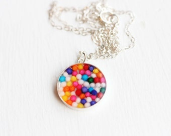 Sprinkles Resin Necklace, Silver Resin Necklace, Round Resin Necklace, Sterling Silver Necklace, Candy Necklace, Sprinkles Necklace, Charm