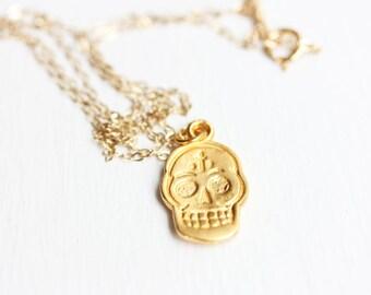 Gold Sugar Skull Necklace
