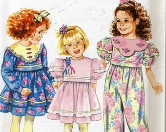 Vintage Simplicity 7593 UNCUT Girls Sunday Best Dress and Party Jumpsuit Sewing Pattern Sizes 5-6x