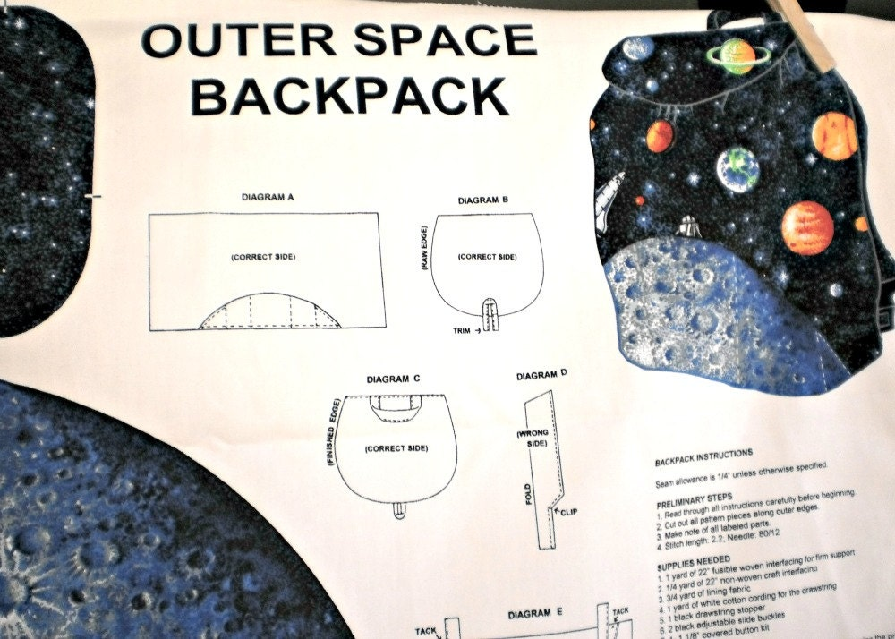 Back to school outer space planetary back pack fabric for Outer space studios