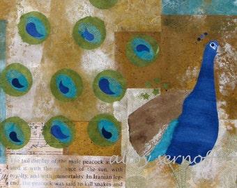 Peacock Bird Art  Collage Fine Art Print 8 x 10