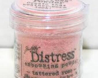 Tattered Rose pink Distress Embossing Powder, Embossing Powder by Ranger, 1 oz Jar