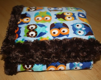 Owl Minky Fabric with Soft Minky Swirl Backing and Edging.... Great Baby Shower or New Baby Gift Idea