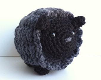 Amigurumi Crochet Black Sheep Plushie - Black & Slate Gray Kawaii Plush Sheep Nursery Decor Stuffed Animal Black Sheep Gift Under 30