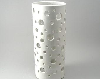 Stoneware Circle Flower Vase-Flower Container-Home Decor-Pottery Vase-Ceramic Vase-White-Circle Pattern-Crisp White Glaze-Ready to Ship